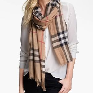NEW - Burberry Giant Check Wool & Silk Gauze Scarf